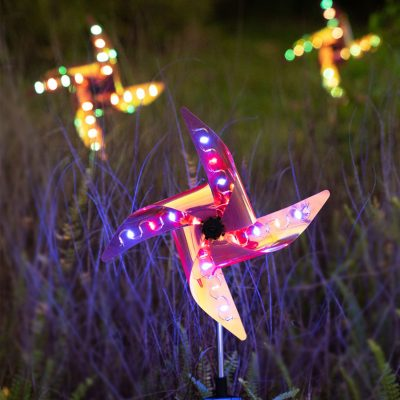 2Pcs Solar Led Lights Reflective Wind Spinner Pinwheels With Stakes Multi-Color Changing Pin Wheels For Yard Garden Decoration, Eco Friendly