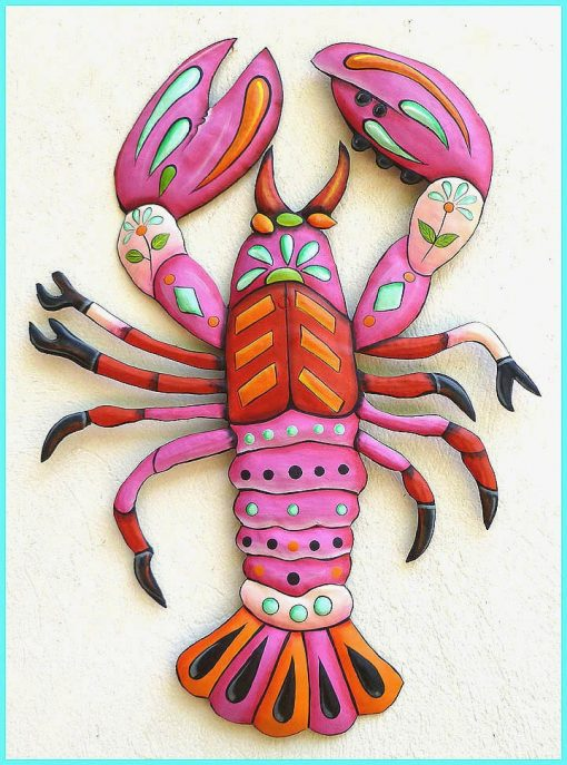 Painted Metal Lobster Wall Hanging, Lobster, Art, Tropical Decor, Beach J936-Pk
