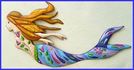 Outdoor Metal Wall Art, Mermaid Decor, Painted Hanging, Garden Decor - J-475-Bl-Pu