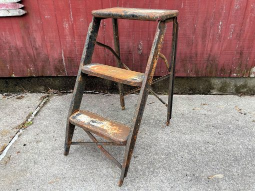 Vintage Ladder Marco Aristocrat Small Mini Compact Three Step Two-Sided A Frame Rusty Metal Sides Legs Steps Folding - Garden, Home Décor