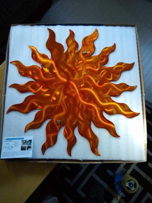 Metal Wall Art Sun Large Etsy Handmade Orange Home & Garden Decor, Outdoor Art, Patio Decor Decorations