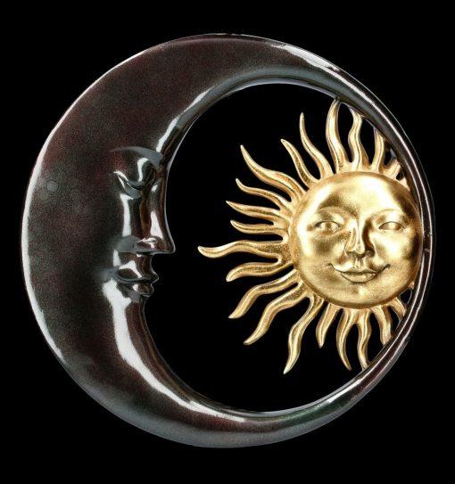 Sun & Moon Round Wall Decor, Décor, Wooden Moon Art, Bestselling, Purple Aqua Teal, Witchy Room Luna Moth