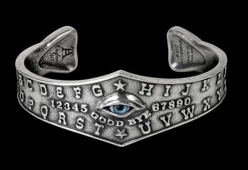 Ouija Eye Bangle, Ouija, Evil Eye Ring, Underworld, Crowley, Plancet, Alchemy, Gothic Décor, Goth Art, Silver, Medieval Bracelet, Art Deco