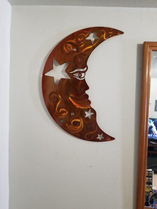 Metal Moon Wall Art Large Decor, Handmade & Stars Plasma Cut Garden/Modern Farmhouse Gift For Her