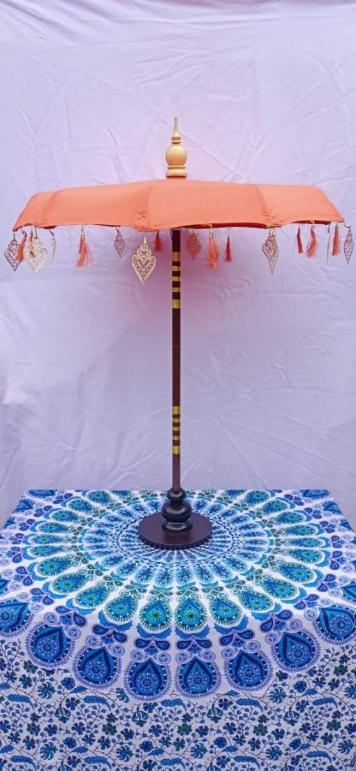 Orange Bali Style Umbrella With Wooden Stand . Balinese Indoor Table Center Piece Décor Party Umbrella