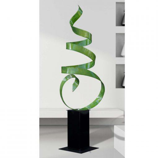 Modern Metal Sculpture, Abstract Indoor Outdoor Art, Contemporary Garden Decor - Green Sea Breeze By Jon Allen