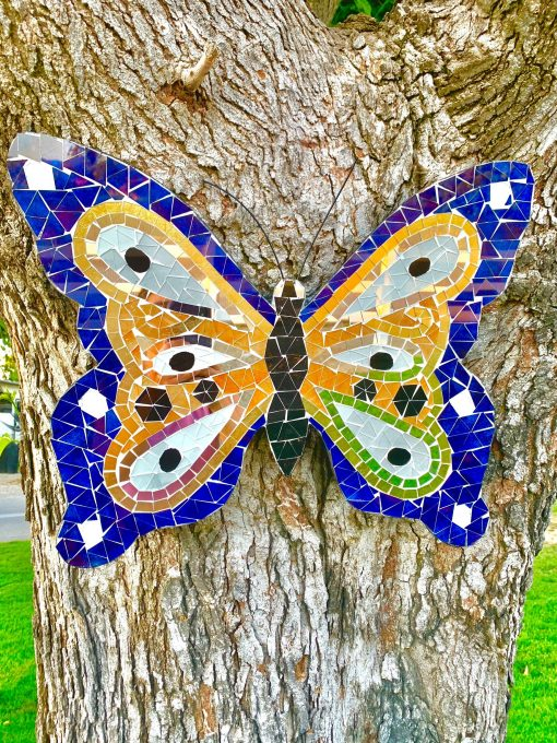 Large Mosaic Chakra Mirrors Butterfly Garden Wall Décor