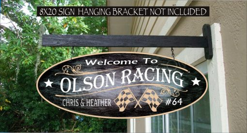 2019 Checkered Flags Racing Driver Street Rodders Garage Speed Shop Man Cave Gift Family Name Custom Personalized Sign Auto 947