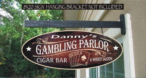 Gambling House Parlor, Playing Cards, Gifts For Him, Poker Card Room, Custom Personalized Sign