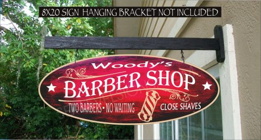 Barber Shop Pole Barber Beauty Salon Hair Cuts Shaves Gift Family Name Custom Personalized Sign