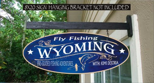 Fly Fishing Sign Wyoming River Trout Fisherman Gift Family Name Custom Personalized