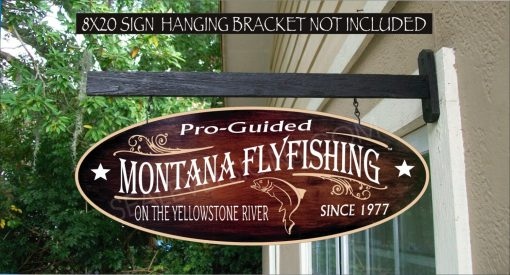 2019 Montana Fly Fishing Trout Fisherman Gift Family Name Custom Personalized Sign