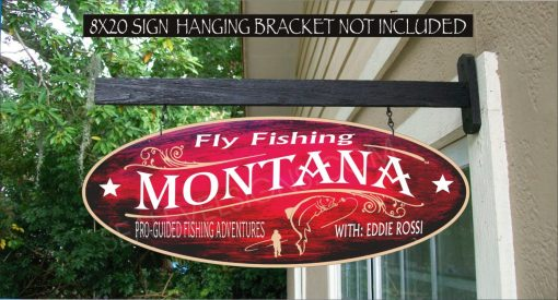 Fly Fishing Trout Fisherman Montana River Family Name Gift Custom Personalized Painted Sign