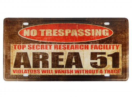 No Trespassing Area 51 Metal License Plate Sign Violators Will Vanish Without A Trace