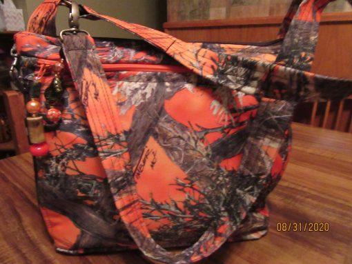 Bright Orange Camo Water Repellant Cross Body Fabric Purse 100% Handmade