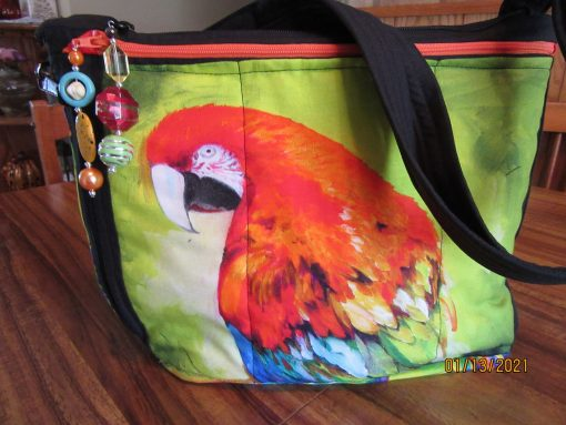 Gorgeous Parrot Fabric Cross Body Purse With Secured Zipper 100% Handmade