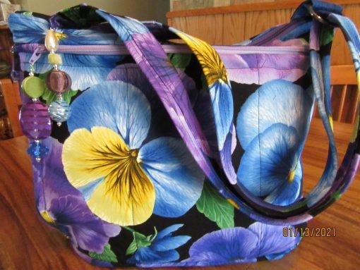 Beautiful Pansies Fabric Cross Body Purse With Secured Zipper 100% Handmade