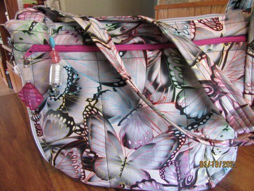 stunning Butterflies Fabric Cross Body Purse With Secured Zipper 100% Handmade