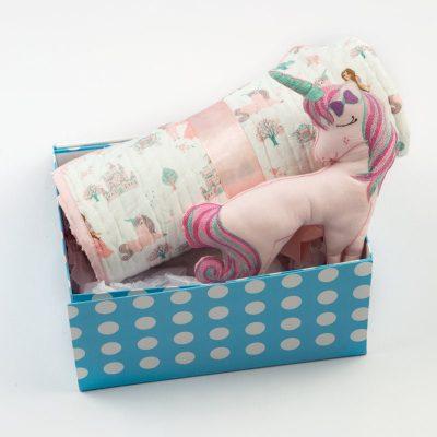 Fairy Tale Organic Cotton Gift Box Set | Baby Girl Princess Rainbows Unicorn Pink Nursery Bedding - Free Personalization