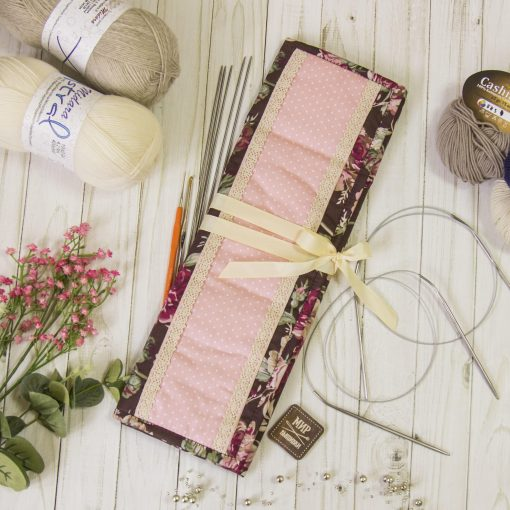 Case For Knitting Needles & Hooks, Supplies Keeper, Holder, Textile Tools For Knitwork, Floral Pattern, Roses