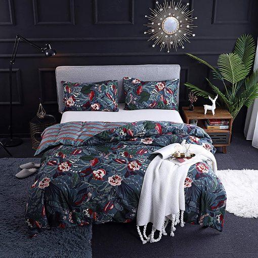 Bohemian Vintage-style Reversible Exotic Blue Botanical Rainforest Duvet Cover/Comforter + 2 Pillow Case Set [steel | Queen Size]