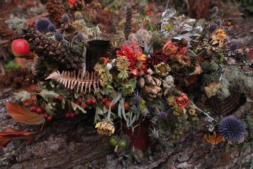 Dried Flower Bouquet, Orange Bridal Rust Chanterelle Mushoom Elopement Farm Wedding