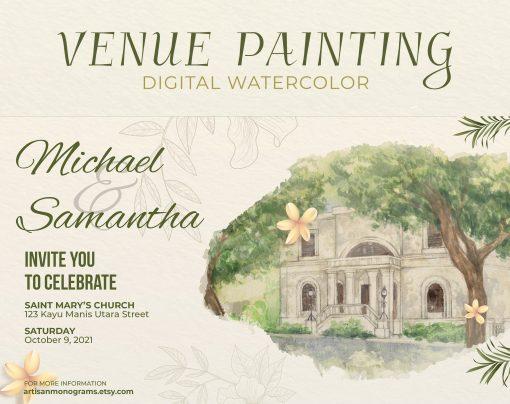 Custom Watercolor Venue Drawing, Made To Order Hand Painted Digital File