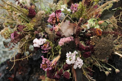 Dried Flower Bouquet, Mauve Zinnia Bridal Woodland Elopement Burgundy Feather
