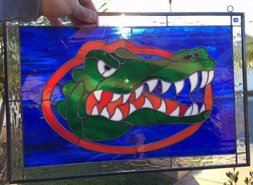 Crocodile Stained Glass Window Panel, Hangings - Florida Gators Custom Business Logo Sign Board Aligator Icon Customizable Item#401