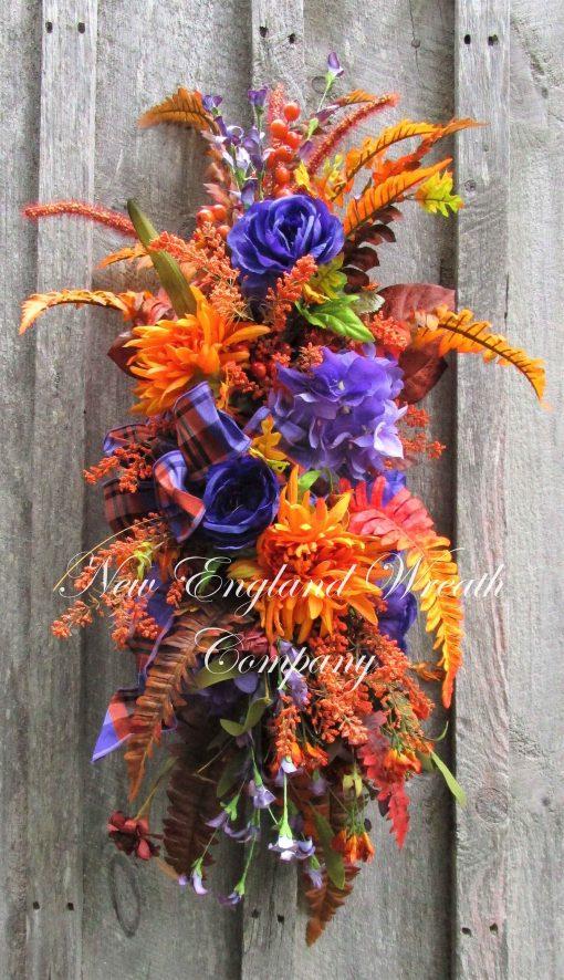 Fall Floral Swag, Autumn Wreath, Elegant Mantel Decor, Country French Designer Centerpiece, Purple Wreath