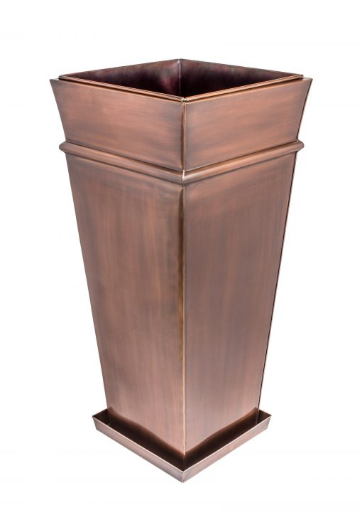 H Potter Planter Tall With Drip Tray Large Indoor Outdoor Patio Deck Garden Flower Container Antique Copper Finish Entryway Front Door