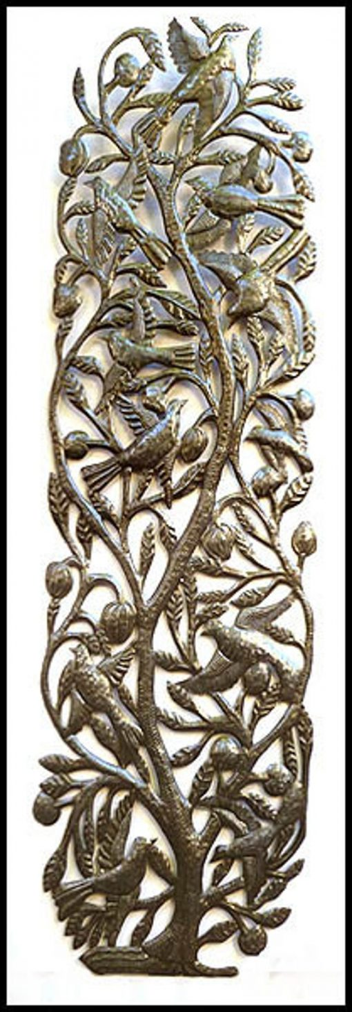 Outdoor Metal Art, Metal Wall Art, Decor, Haitian Art - Steel Drum Tree Birds, 1680-48