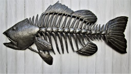 Fish Wall Hanging, Small Mouth Bass, Recycled Steel Drum, Metal Fish Wall Decor, Hanging, Outdoor Art, Haitian 356