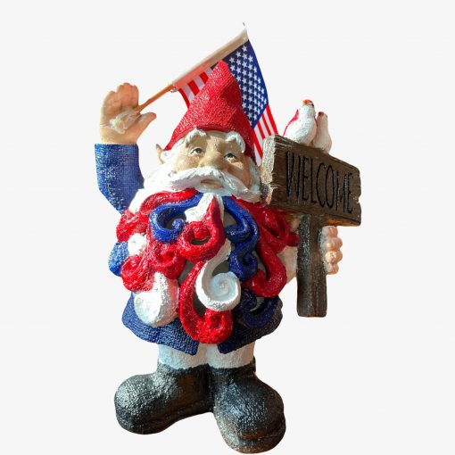 Patriotic Garden Gnome, July 4Th Decor, Usa Of American Independence Day