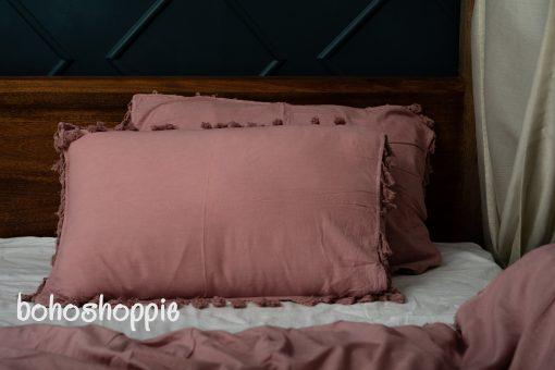 Light Pink Cotton Set/Soft Warm Cozy Duvet Cover Set/Pillow Shams/Queen King Sizes Duvet/Reversible Tussle Zip Closure Blanket