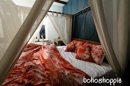 5 Pcs Soft Cotton Full Duvet Cover, Cushion Cover, Living Room, Bedroom Decor, Hand Tie Dyed Duvet, Boho Bedding Set, Dorm Sheet, King