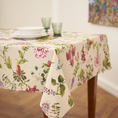 Square/Rectangular Floral Tablecloth, Summer Print On Linen Background, Botanical Pattern Table Cover, Gift For Her, Mom