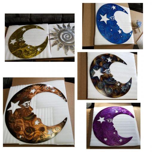 Metal Wall Art Large Moon/Metal Decor Etsy Plasma Cut & Stars Garden Modern Farmhouse Gift For Her
