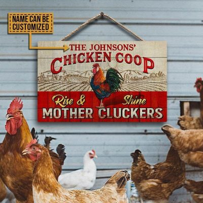 Buy 1 Get Personalized Chicken Coop Wooden Sign, Rise & Shine Mother Cluckers, Farmhouse Decor, Gift For Farmer, Sign