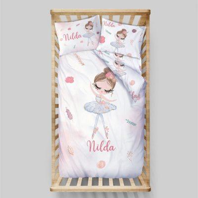 Ballerina Girl Bedding Set Toddler Twin Girls Personalized Custom