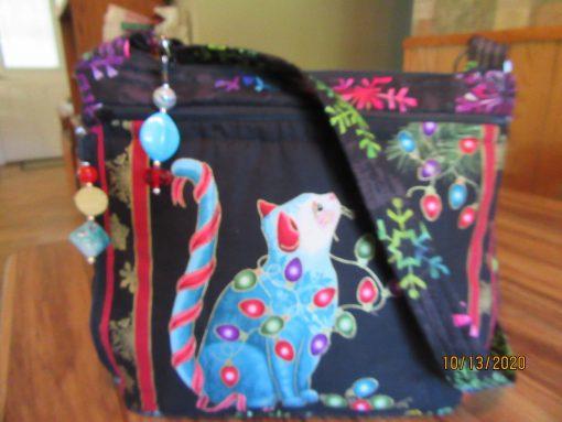 Christmas Cat Cross Body Fabric Purse 100% Handmade