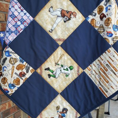 Baseball Baby Quilt, Vintage Theme Tan & Navy Baseball Baby Quilt