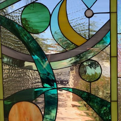 Abstract Circles & Ribbons Window Panel - Stain Glass Customizable Item #507