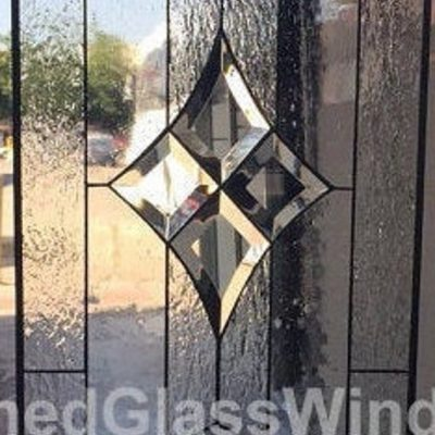 Clear Stained Glass Panel, Window, Hangings - Transom, Home Decor, Diamond, Beveled Custom Made Item#455