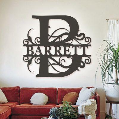 Split Letter Monogram-Metal Sign-Door Hanger-Family Sign-Housewarming Gift-Wedding Gift-Metal Monogram Sign-Anniversary Gift-Family