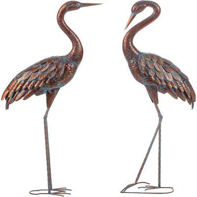 2 Set Garden Crane Statues Patina Heron Decoy, Standing Metal Bird Sculptures For Outdoor Of