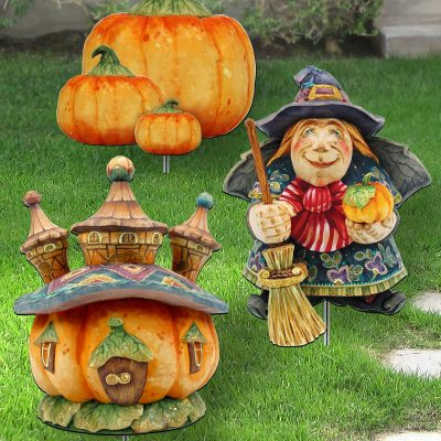 Fall Outdoor Decor - Garden/Porch Walk Way Set With Metal Stakes Yard Art Of 3 #8120117Ms3